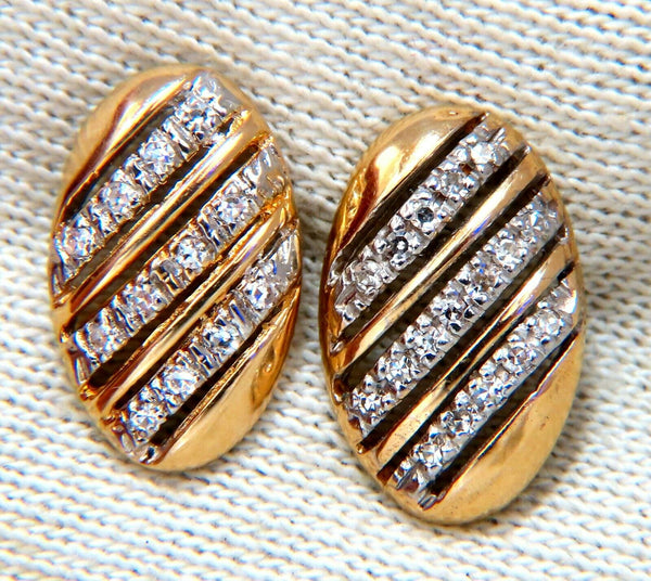 .20ct natural round diamonds oval striped earrings 14kt