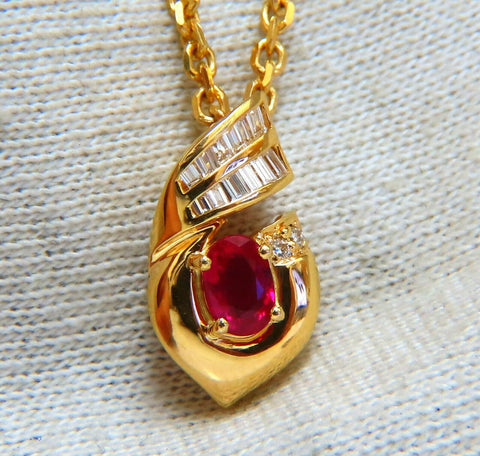 .91ct Natural Oval Ruby & Diamonds Necklace 14 Karat
