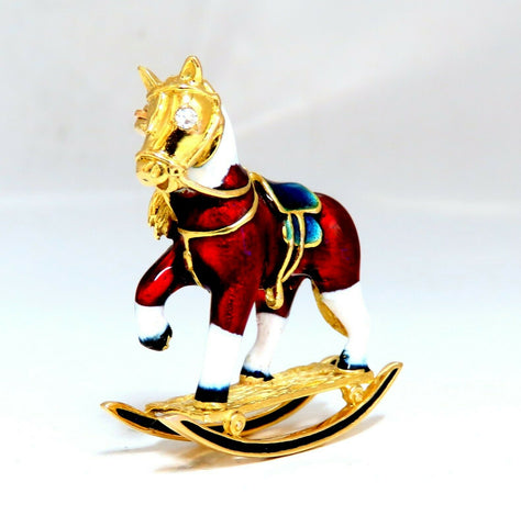 .04ct Natural Diamond Enamel Rocking Horse Pin