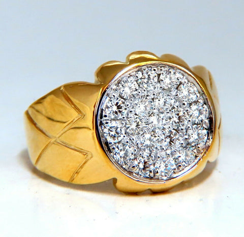 .90ct natural round cut diamonds wide mens ring 14kt signet circular