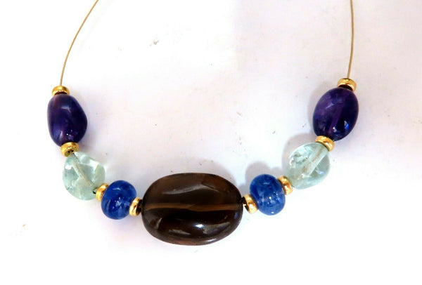 Natural Topaz Amethyst Aquamarine Tanzanite Gold Bead Necklace 14kt 18kt