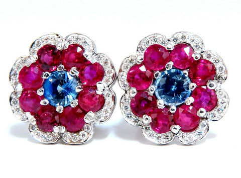 7.30Ct Natural Ruby Sapphire Diamond Cluster Earrings 14 Karat Clip Cocktail