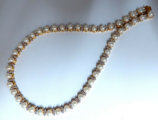 3.03ct Natural Akoya Pearls & Diamonds Riviera Necklace 14kt