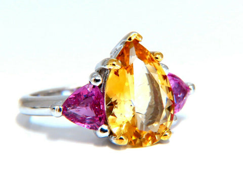 7.23ct Natural Pear Citrine Pink Sapphire Platinum Ring