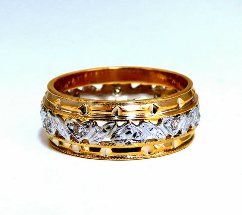 .18ct natural diamond eternity ring 14kt vintage floral patina