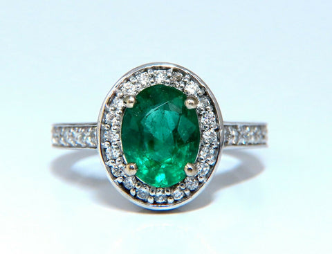 3.08ct Natural Vivid Green Emerald Diamonds Halo Ring 14kt
