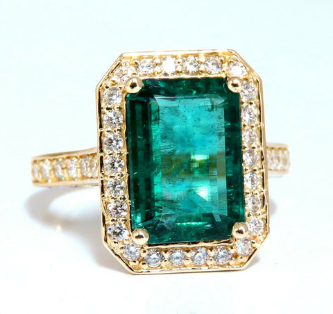 5.40ct Natural Vivid Green Emerald Diamonds Gilt Deco Ring 14kt