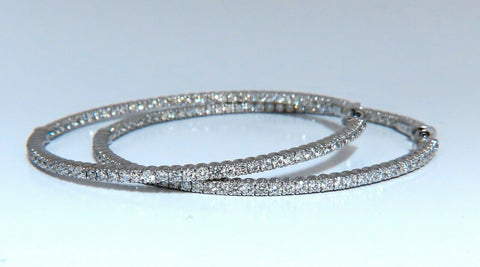 4.07ct Natural round brilliant in/out diamond hoop earrings 14 Karat 2.2 Inch