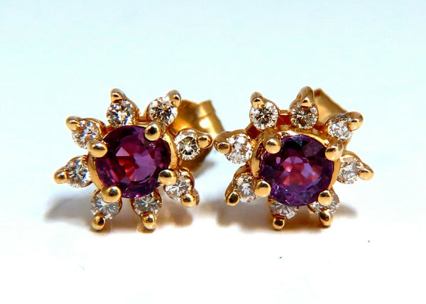 1.24ct Natural Pink-Red Ruby Diamonds Cluster Earrings 14kt
