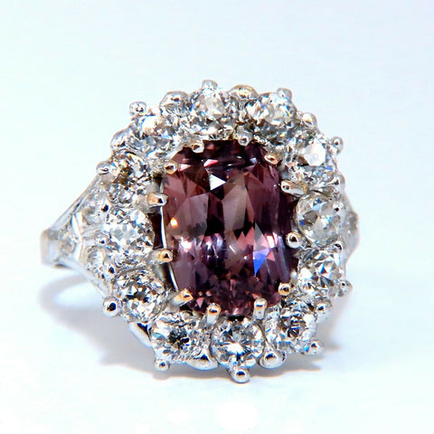 GIA Certified 3.73ct Purplish Brown Sapphire Diamonds Ring Platinum Vintage