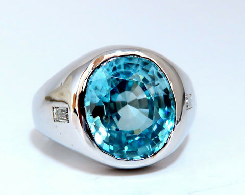 9.50ct Natural Blue Topaz Diamond Unisex Ring Masculine Prime