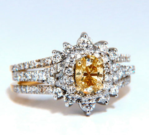1.81ct Natural Fancy Yellow Diamonds Ring 14kt Insert & Ring