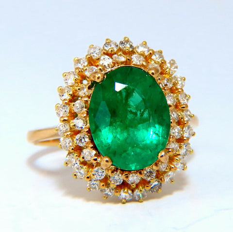 3.46ct Natural Emerald Diamonds Double Halo Ring 14kt