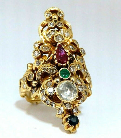 1.76ct Natural Ruby Sapphire Emerald Diamond Vintage Gilt Patina Ring 18kt