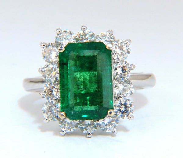 5.07ct Natural Emerald Diamonds Cluster Halo Ring 14kt