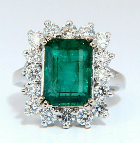 7.15ct Natural Emerald Diamonds Cluster Halo Ring 14kt