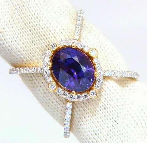 GIA Certified 5.16ct Natural Vivid purple sapphire diamonds ring