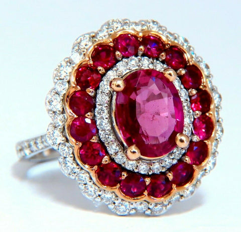 GIA Certified 4.06ct oval cut red No Heat Ruby diamonds Ballerina ring 14kt