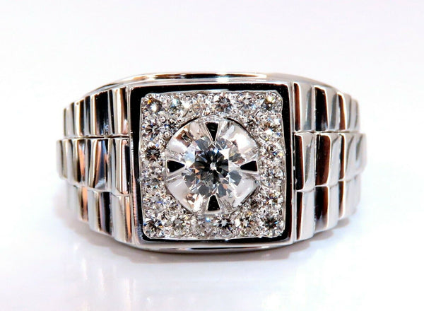 ".63ct Natural Diamonds Mens Solitaire Accent Ring 14 Karat ""Watch Band"""