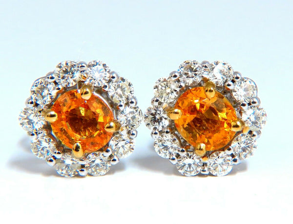 3.46ct Natural Mandarin Garnet Diamond Cluster Earrings 14kt Orange