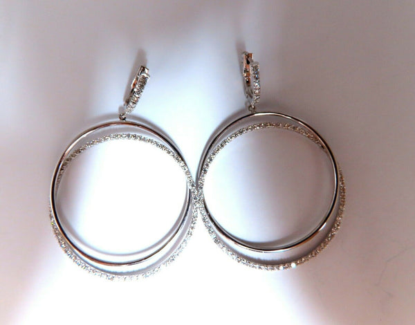 2.06ct natural diamonds loop rings dangle earrings 14kt gold