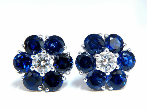 6.28ct Natural Sapphire Diamonds Floretta Cluster Snowflake Earrings 14 Karat