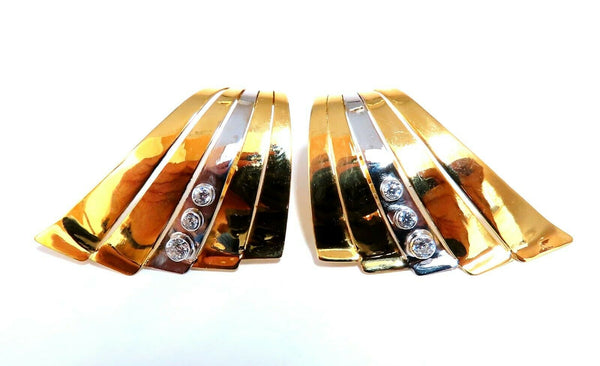 .30ct Natural Diamonds Flaming Staggered Row Earrings 14kt