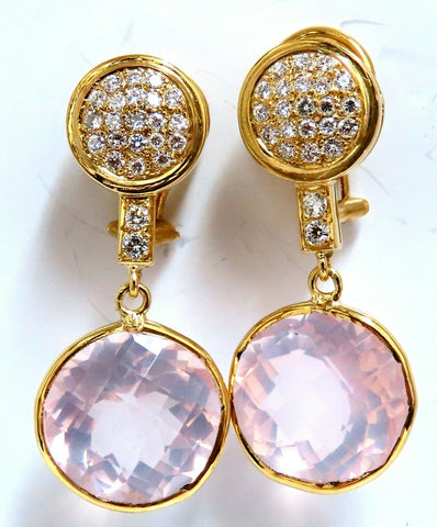 30.33ct Natural Rose Quartz Diamond Dangle Earrings 18 Karat Pink Flash