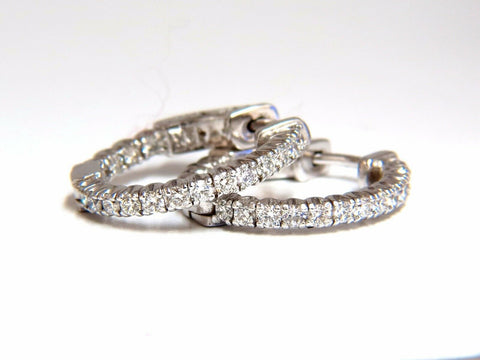 .76ct natural round brilliant in/out diamond hoop earrings 14kt g/vs