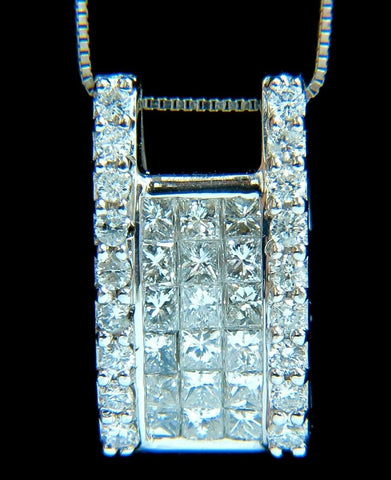 .90ct Princess & Rounds Diamond Square Cocktail Pendant 18kt