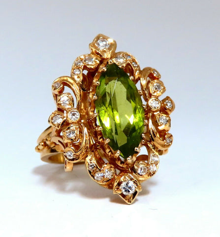 8.60ct natural green peridot diamond vintage ring 14kt