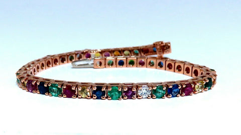 10.30Ct Natural Gem-Line Spinel Emerald Sapphire Ruby Diamond Bracelet 14Kt
