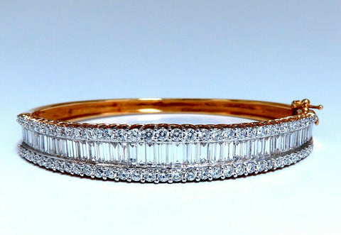 4.23ct Baguette & Rounds Diamond Three Row Bracelet 14kt