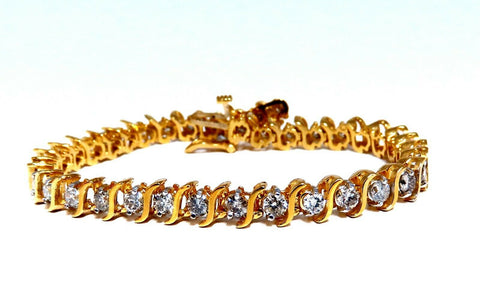 6.08ct Natural Round Diamonds S Link Bracelet 14Kt