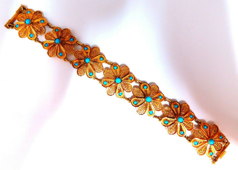 Persian Turquoise Intricate Hand Carved Clovers Bracelet 18kt