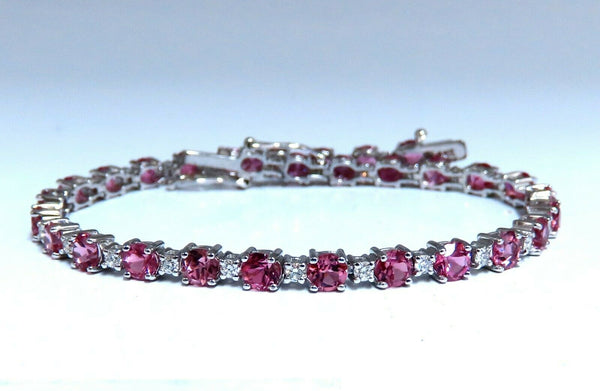 7.80ct natural Vivid Pink Sapphire diamond bracelet 14kt g/vs pink tennis line