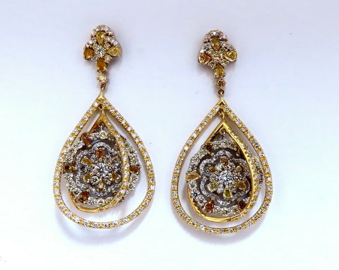 9.02ct Natural Fancy Orange Yellow Brown Fancy Diamonds Dangle Earrings 18kt