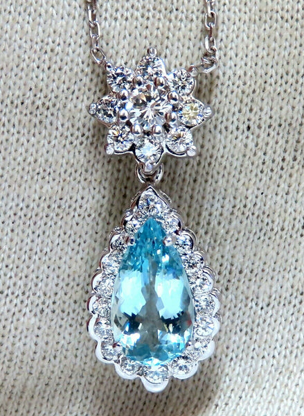 3.73ct Natural Pear Aquamarine Diamonds Necklace Cluster Halo Drop 14kt