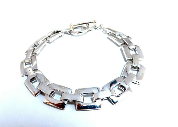 Sterling Silver Square Link Toggle Bracelet
