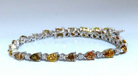 5.02ct Natural Fancy Multicolor Diamond Tennis Bracelet 14kt