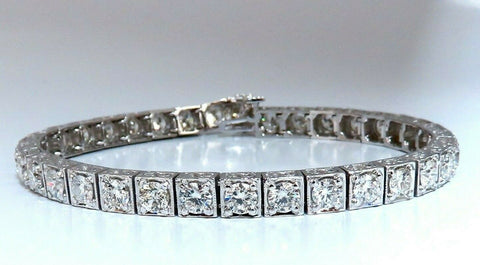 8.42ct Natural Diamonds Tennis Bracelet 14kt Gold Squared Box Bead Set