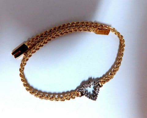 .20ct Diamonds Heart On Rope Braid Bracelet 14kt