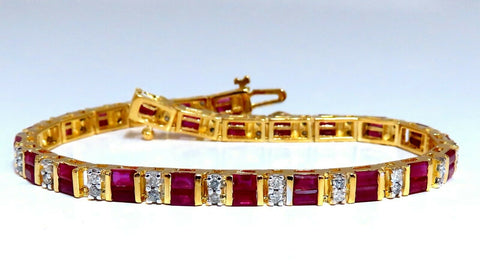 4.02ct Natural Ruby Diamonds Channel Line Tennis Bracelet 14kt