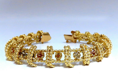 4.08ct Natural Yellow orange green brown fancy color diamonds link bracelet 14kt