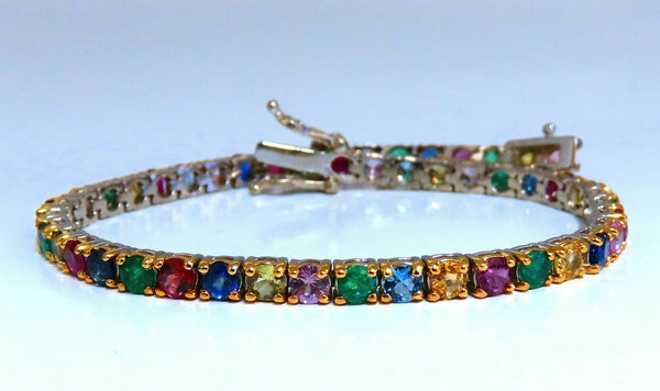 8ct natural ruby emerald sapphires tourmaline tennis bracelet 14kt gem line
