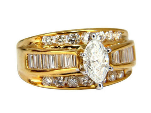 .73ct Natural Marquise Diamond Raised Cathedral Ring 14kt