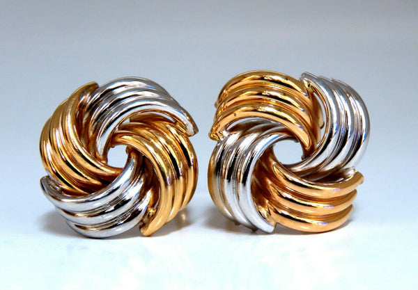 14kt Gold Intertwined Knot Earrings Tubular Scaling