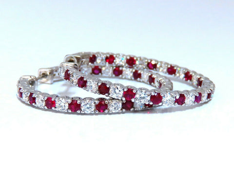 4.75ct natural red ruby diamond hoop earrings 14kt gold 1.2 inch