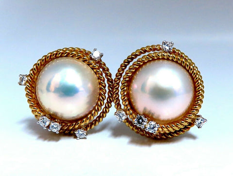 Mage Pearls .50ct Diamonds Clip Earrings 18kt Gold