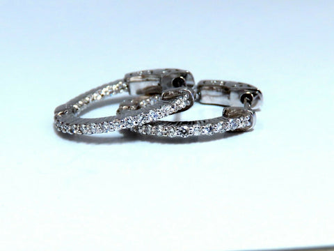 .30ct Natural Diamond Hoop Earrings 14 Karat In / Out